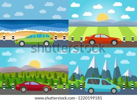 Set of four illustration of car on the road against the backdrop of  natural landscape.   #1220199181