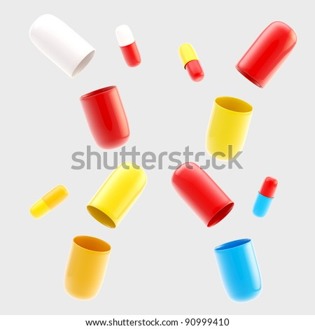 Set of four pairs of closed and opened glossy pills isolated on grey