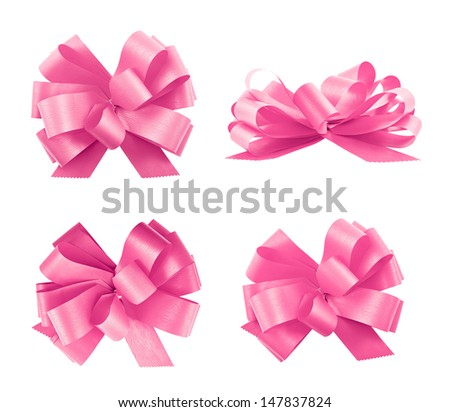 Set of four pink gift ribbom bows isolated over white background, set of four foreshortenings