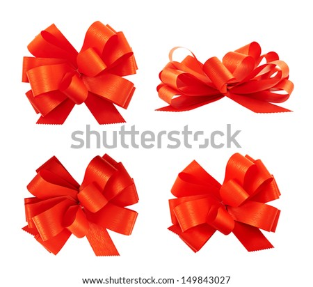 Set of four red gift ribbon bows isolated over white background, set of four foreshortenings