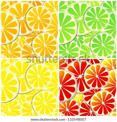Set of four seamless citrus fruit background illustrations - lemon, orange, grapefruit and lime