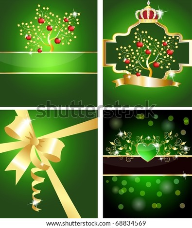 Set of four sparkling green cards. With juicy apple tree, golden
