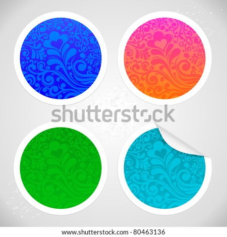 set of four stickers with floral decoration swirls JPEG