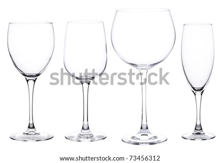 Set of four wine glasses isolated on white background