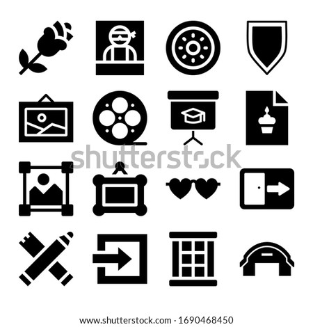 Set of 16 frame filled icons such as picture, frame, window, blackboard, wanted, log in button, shield, hangar, birthday card, glasses, rose, exit, film reel, markers