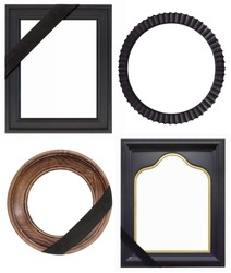 Set of frames with black mourning ribbon for paintings, mirrors or photo isolated on white background