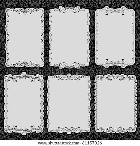 Set of frames with floral elements, illustration