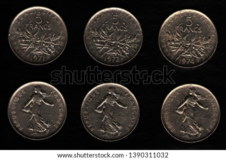 Set of France 5 Francs coins 1971, 1973, 1974 years #1390311032