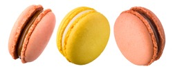 Set of french macaroon isolated on white background.
