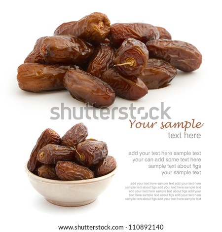 Set of fresh dried dates on white background with easy removed sample text