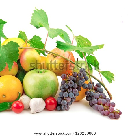 set of fresh fruits and vegetables isolated on white background