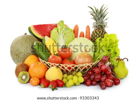 set of fresh fruits and vegetables with basket isolated on white background