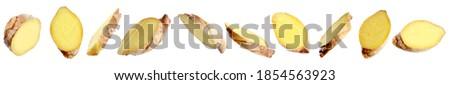Set of fresh ginger slices on white background. Banner design  Foto d'archivio ©