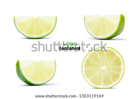 Set of fresh juicy half and slices lime isolated on white background. Citrus and tropical fruits  #1303119169