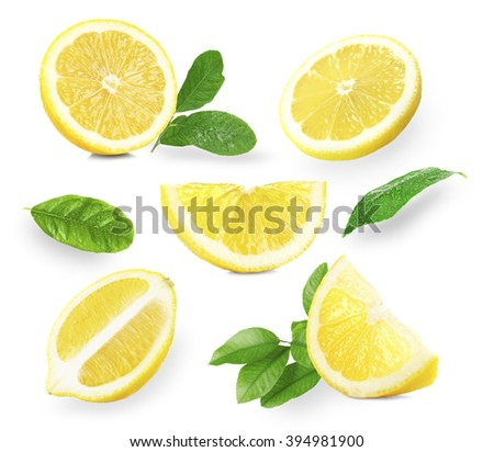 set of  fresh lemons with...