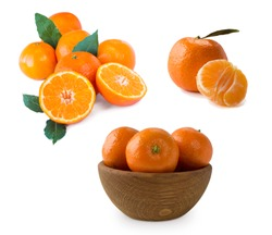 Set of fresh mandarins. Ripe and tasty tangerines isolated on white background. Clementines on a white background. Fresh tangerines with copy space for text. Slices of mandarin with leaves isolated
