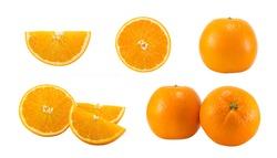 Set of fresh orange isolated on white background