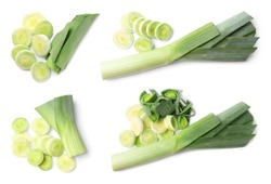 Set of fresh raw leeks on white background, top view. Ripe onions