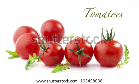 Set of fresh tomatoes with green leaf isolated on white background (with sample text)