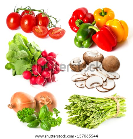 set of fresh vegetables and herbs on white background. tomato, asparagus, onion, radish, basil, parsley, pepper, mushrooms #137065544