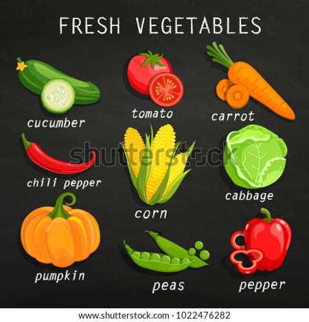 Set of fresh vegetables. Chalkboard background. Organic farm illustration. Healthy lifestyle concept. Elements for your design. Raster copy. #1022476282