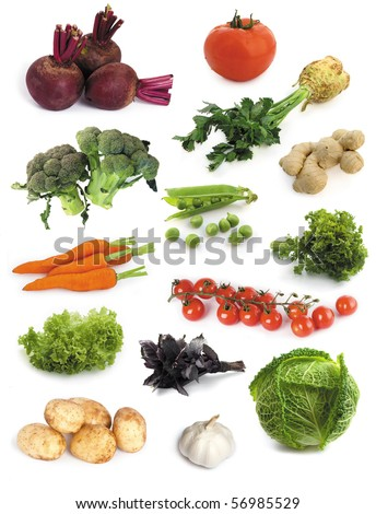 set of fresh vegetables isolated on a white background