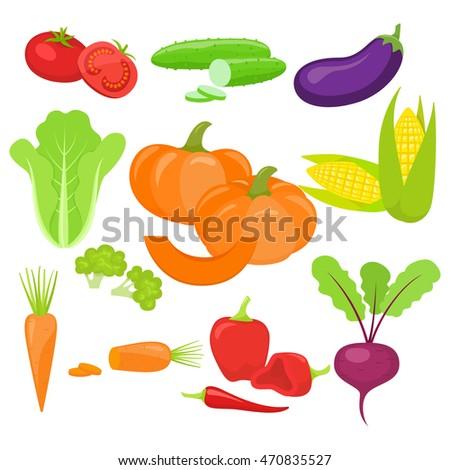 Set of fresh vegetables, isolated on white background. #470835527