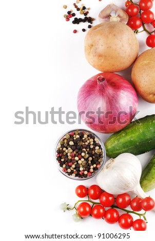 Set of fresh vegetables with olive oil on the white background