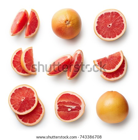 Set of fresh whole and cut grapefruit and slices isolated on white background. From top view ストックフォト ©