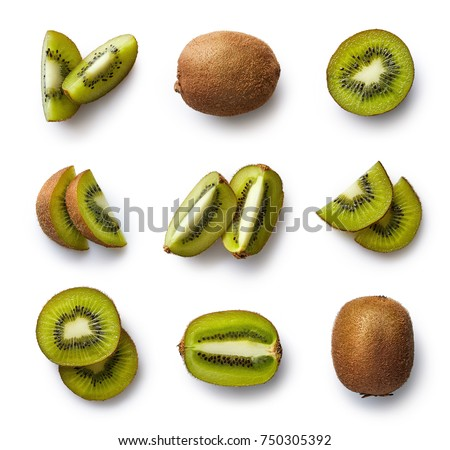 Set of fresh whole and cut kiwi and slices isolated on white background. From top view Zdjęcia stock ©