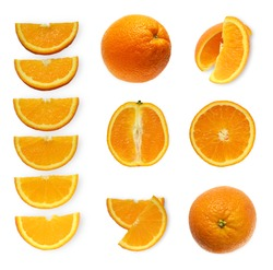 Set of fresh whole and cut orange and slices isolated on white background. From top view