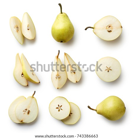 Set of fresh whole and cut pear and slices isolated on white background. From top view #743386663