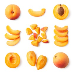 Set of fresh whole and sliced apricot isolated on white background, top view