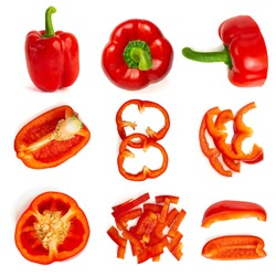 Set of fresh whole and sliced bell pepper isolated on white background. Top view.
