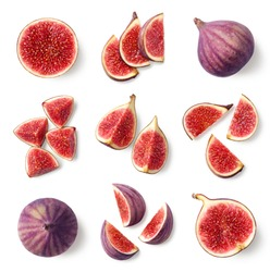 Set of fresh whole and sliced figs isolated on white background, top view