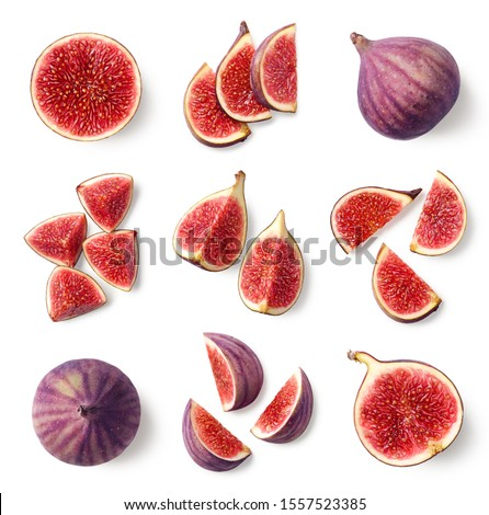 Set of fresh whole and sliced figs isolated on white background, top view Stockfoto ©
