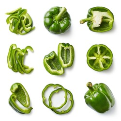 Set of fresh whole and sliced sweet green pepper isolated on white background. Top view