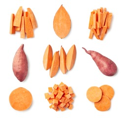 Set of fresh whole and sliced sweet potatoes isolated on white background. Top view