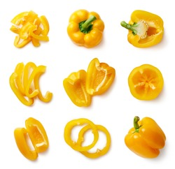 Set of fresh whole and sliced sweet yellow pepper isolated on white background. Top view