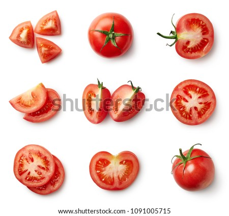 Set of fresh whole and sliced tomatoes isolated on white background. Top view #1091005715
