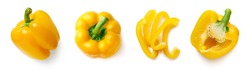 Set of fresh whole and sliced yellow sweet pepper isolated on white background. Top view