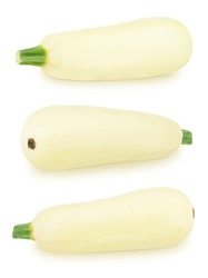 Set of fresh whole white vegetable marrow zucchini isolated on a white background. Clip art image for package design.