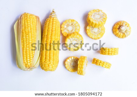 Set of fresh yellow corn whole/half/slice isolated in white background, sweet corn, agriculture, farm, Easter corn, autumn, harvest, organic, ingredient, Halloween corn/maize,  flat lay, top view