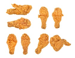 Set of fried chicken isolated on white background.