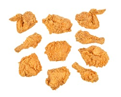 Set of fried chicken isolated on white background. Top view