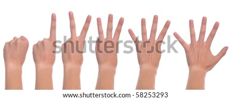 set of front woman hands counting from zero to five (isolated on white background)