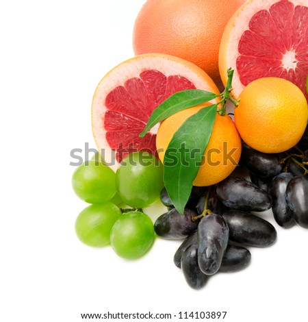 set of fruits and berries isolated on a white background