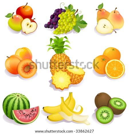set of fruits icons - raster version