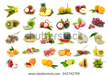 set of fruits on white background.