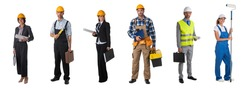 Set of full length portraits of professional workers business people architects isolated over white background